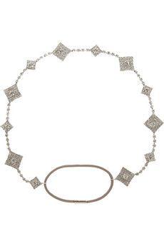 Jennifer Behr Gunmetal Swarovski crystal headband | NET-A-PORTER