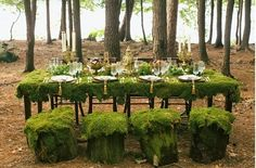 Adore this MOSS covered head table accented with gold for a woodland viking wedding. 2015 Wedding Trends, Wedding 2015, Wedding Ideas To Make, Wedding Unique, Boho Wedding, Dream Wedding, Woodland Wedding Inspiration, Woodland Theme, Viking Wedding