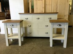 Attractive Chest Of Drawers With Rustic Plank Top And Brushed Silver Cup Handles In  Fu0026B Old White