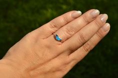 Size 7 Sterling Silver Blue Lab-Created Opal by SparklingShowroom