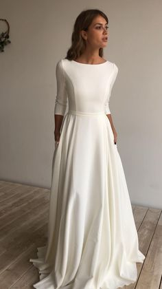 Simple Wedding Dress Sleeves, Long Sleeved Wedding Dresses, Soft Wedding Dresses, Bateau Wedding Dress, Bride Dress Simple, Boat Neck Wedding Dress, Civil Wedding Dresses, Simple Gowns, Minimalist Wedding Dresses
