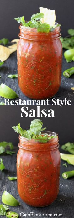 Homemade Restaurant Style Salsa Recipe with Fire Roasted Tomatoes Cilantro and Lime CiaoFlorentina Restaurant Style Salsa, Salsa Picante, Cilantro Salsa, Jalapeno Salsa, Sauces, Homemade Salsa, Homemade Recipe, Homemade Breads, Fire Roasted Tomatoes