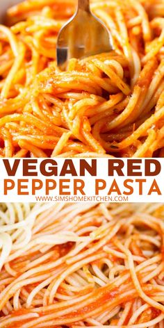 This vegan roasted red pepper spaghetti dish is truly one of my favorites! The roasted red peppers, garlic and onions add so much delicious flavor. #vegan #redpepper #spicy #pasta #dinner Vegan Breakfast Recipes, Delicious Vegan Recipes, Spicy Recipes, Pasta Recipes, Chicken Recipes, Dinner Recipes, Yummy Food, Healthy Recipes, Spicy Pasta