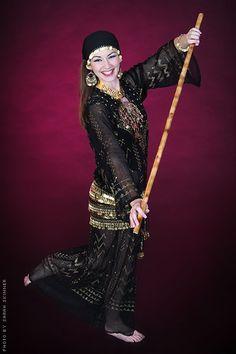 Assiut Robe worne by Amala- professional Belly Dancer for folk beledi, Saidi, cane balancing dance, folk belly dancing