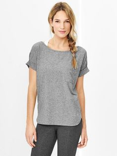e1052f2e Gap Women Fit Breathe Roll Sleeve Tshirt Heather Grey T Shirt | Shirts,  Tops and