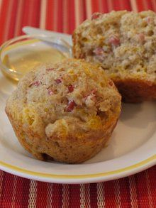 Ham & Cheese Muffins  * 1 1/2 cups all purpose flour  * 1 cup whole wheat flour  * 2 teaspoons baking powder  * 1 teaspoon baking soda  * 1/2 teaspoon salt  * 1 1/4 cups buttermilk  * 2 eggs  * 1/4 cup vegetable or canola oil  *2  tablespoons maple syrup or honey  * 1 cup cheddar cheese, shredded  * 1 cup ham, chopped fine
