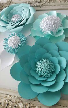 Papel papel Extra grande flor foto blanco boda flor por PoshStudios