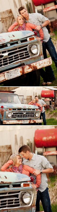 Rustic engagement photo taken by rustic truck