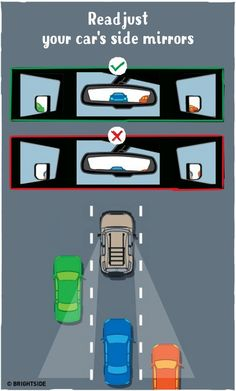 Adjust the side mirrors in such a way as to be barely able to see the edges of your car. This rearrangement will help you eliminate any blind spots in the side zones. Position your rearview mirror so as to always be able to see any car that comes up behind you. To ensure the mirror readjustment's effectiveness, do it directly from the driver's seat.