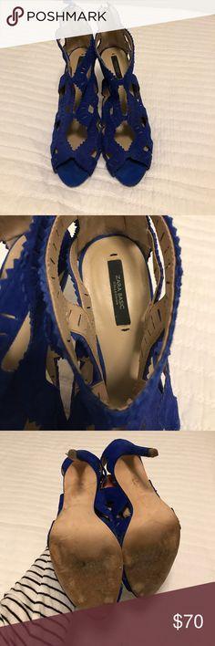 Zara royal blue suede open toe heels sz 9 Zara 4inch high heels royal blue suede worn once to a wedding. Size 9 Zara Shoes Heels