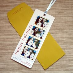 Photo Christmas Card - Photo Booth Film Strip Holiday Greeting Bookmark - DEPOSIT. $25,00, via Etsy.