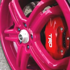 """19"""" TRD's @ big brake kit.  Have the wheels for my scion but in gun metal and thinking of painting the calipers green. Could plasti dip the wheels pink just to try it out"""