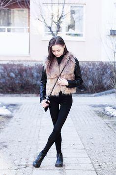 http://nouw.com/bellss  #outfit #streetstyle #fashion #faux #fur #vest
