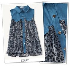 Super cena koszula panterka jeans luźna s/m - Diy Clothes Refashion, Shirt Refashion, Diy Shirt, Clothes Crafts, Sewing Clothes, Fashion Sewing, Denim Fashion, Umgestaltete Shirts, Diy Kleidung
