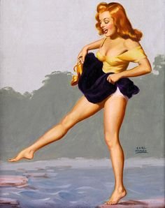"""Marilyn Monroe by Earl Moran - August 1950  Calendar - """"Don't Hope for the Best, Hop for It"""""""