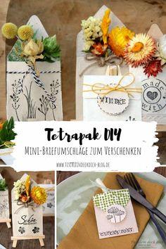 Mini-Briefumschläge aus Tetrapak basteln, eine tolle Upcyclingidee als Tischkarte oder Gastgeschenk, ein kleines Give away aus Milchtüten, dass Freude bereitet. Gefüllt wird mit Strohblumen oder getrockneten Blüten. #tischleindeckdichblog #upcyclingidee #milchtütenDIY #TetrapakDIY Dinner Is Served, Diy Invitations, Diy Wedding, Upcycle, Table Decorations, Blog, Mini, Recycling, Home Decor