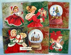 Holly Jolly  Christmas Cards  set of 6  digital by bydigitalpaper