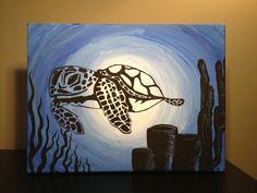 acrylic turtle paintings | Sea Turtle. Original painting acrylic on canvas by BrassMonkeyArt