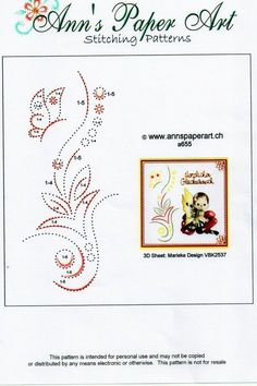 Embroidery Cards, Hand Embroidery Designs, Cross Stitch Embroidery, Embroidery Patterns, Quilling Patterns, Card Patterns, Stitch Patterns, Stitching On Paper, Pin Card