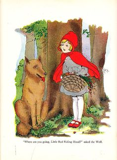 Lot of 4 vintage book pages with Little Red Riding Hood illustrations.