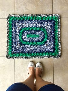 Crochet rug made with Lion Brand Yarns Fettuccini