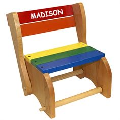 Step Stool Chair This #wooden step stool and #chair is painted with rainbow colors and customized with your child's name. #kids #gift allenbooth.com