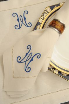 monogrammed   linens - that you want NO one wiping their dirty mouth on.