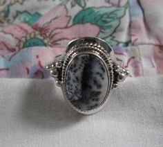 RING    DENDRITE OPAL   Oval  Ornate  Sterling by MOONCHILD111 https://www.etsy.com/shop/MOONCHILD111
