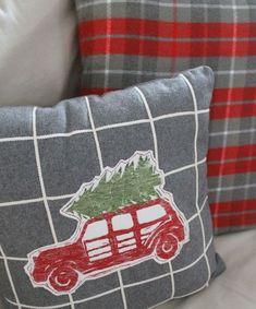Christmas Pillow, Plaid Christmas, Country Christmas, Little Christmas, Christmas Colors, Winter Christmas, Christmas Crafts, Christmas Decorations, Christmas Trees