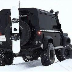 Land Rover Defender 90 Icon. Black  snowboarding.