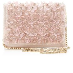Oscar de la Renta Petite Evening Bag In Soft Pink found on Polyvore featuring bags, handbags, oscar de la renta bag, evening handbags, oscar de la renta, satin bags and pink purse