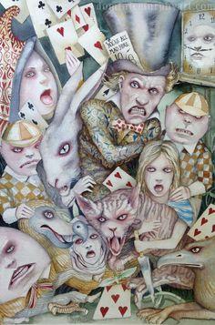 BIG Alice In Wonderland Art Original Painting Mad as Hatters Dominic Murphy