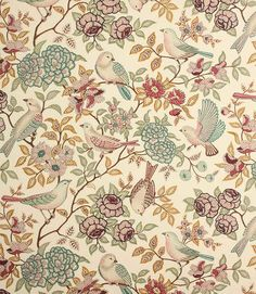 Save on our Fern Heritage Traditional Fabric; perfect for creating Curtains, Blinds & Upholstery. Curtain Fabric, Fabric Decor, Saree Floral, Chintz Fabric, Vintage Curtains, Traditional Fabric, Fabric Birds, Textile Fabrics, Creative Art