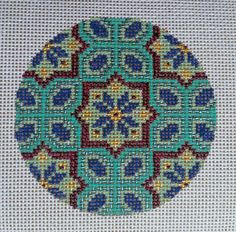 Beautiful Hand Painted HP Round Ornament Needlepoint Canvas 18 mesh Geometric  #TEW