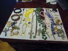 Large Lot of Catholic Christian Rosaries Pendants Necklaces Etc.