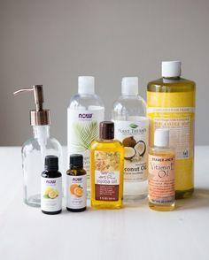 1/2 C + 2 TBSP Castile Soap; 2 TBSP Fractionated Coconut Oil; 2 TBSP Vegetable Glycerin; 1 TBSP Jojoba Oil; 1 TBSP Vitamin E Oil; 20-40 drops of EO (optional). Mix all items together and place in a bottle.