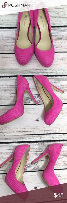 INC International Concepts Fuschia Suede Heels Beautiful!  Great condition, a couple of small scuffs but very little wear. Heels 5 inches.  Alligator print.  Nonsmoking Home. No Trades. INC International Concepts Shoes Heels