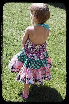 Summer Dress  Halter Twirl  Sizes 4 5 6 by TwirlandTango on Etsy, $45.00