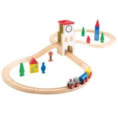 Circuit de train en bois 31 pièces Oxybul