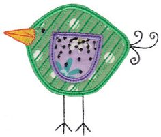 Embroidery | Free Machine Embroidery Designs | Bunnycup Embroidery | Here Birdy Applique