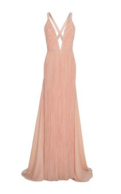 This **Haider Ackermann** dress features an a-line silhouette with a plunging neckline.