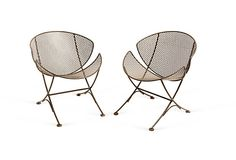 MICHAEL ROSENBERG  Vintage Iron Patio Chairs, Pair
