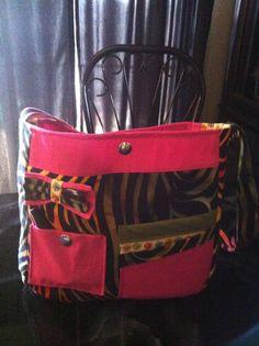 Pink and multi zebra print purse