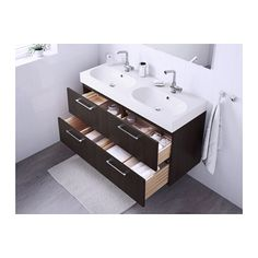 """GODMORGON / BRÅVIKEN Sink cabinet with 4 drawers - black-brown, 47 1/4x19 1/4x26 3/4 """" - IKEA...double sinks in a smaller space"""