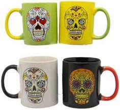 Day of the Dead Coffee Mugs 14 oz Set of 4 Dia de los Muertos