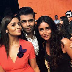 Kareena Kapoor with Alia Bhatt and Karan Johar. #Bollywood #Fashion #Style #Beauty
