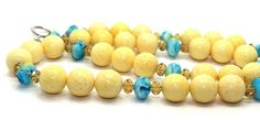 22.5in long Yellow Sponge Coral, Blue Wave and Iridescent Gold Crystals Necklace | AyaDesigns - Jewelry on ArtFire