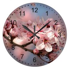 Cherry Blossom Flowers Large Clock