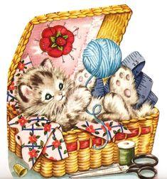 Vintage: Kitten in a yarn basket
