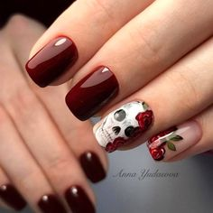 nail art designs 2019 nail designs for short nails 2019 full nail stickers nail art sticker stencils best nail polish strips 2019 Fall Nail Art Designs, Halloween Nail Designs, Halloween Nail Art, Trendy Halloween, Skull Nail Designs, Cute Acrylic Nails, Cute Nails, Pretty Nails, My Nails